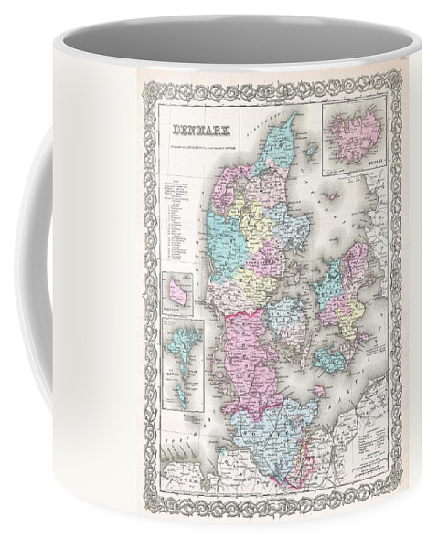 Coffee Mug featuring the photograph 1855 Colton Map Of Denmark by Paul Fearn