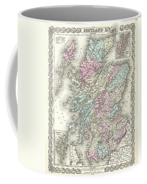 Coffee Mug featuring the photograph 1855 Colton Map Of Scotland by Paul Fearn
