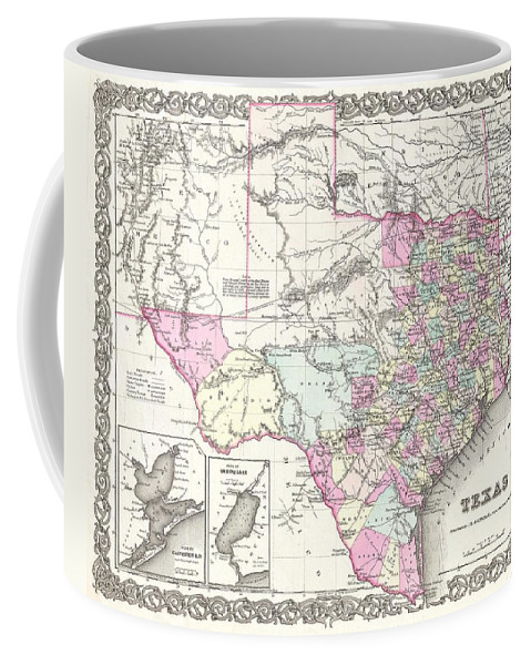 Coffee Mug featuring the photograph 1855 Colton Map Of Texas by Paul Fearn
