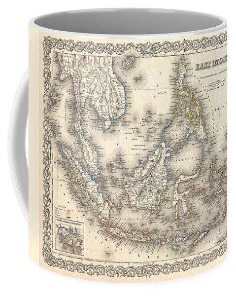 Coffee Mug featuring the photograph 1855 Colton Map Of The East Indies Singapore Thailand Borneo Malaysia by Paul Fearn