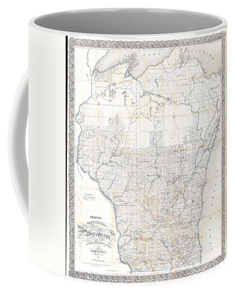 Coffee Mug featuring the photograph 1856 Chapman Pocket Map Of Wisconsin by Paul Fearn