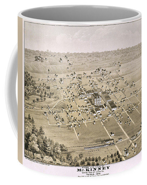 Map Coffee Mug featuring the photograph 1876 Birds Eye Map Of Mckinney Texas by Stephen Stookey