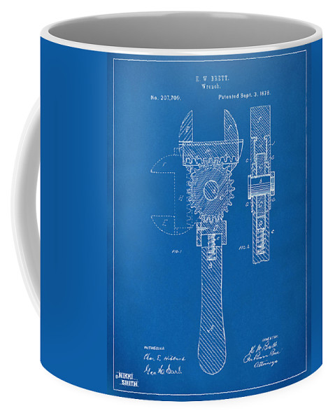1878 adjustable wrench patent artwork blueprint coffee mug for front right view malvernweather Gallery