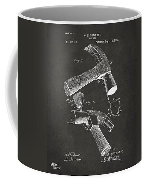 Hammer Coffee Mug featuring the digital art 1890 Hammer Patent Artwork - Gray by Nikki Marie Smith