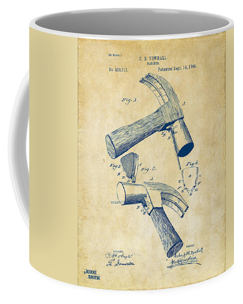 Hammer Coffee Mug featuring the digital art 1890 Hammer Patent Artwork - Vintage by Nikki Marie Smith