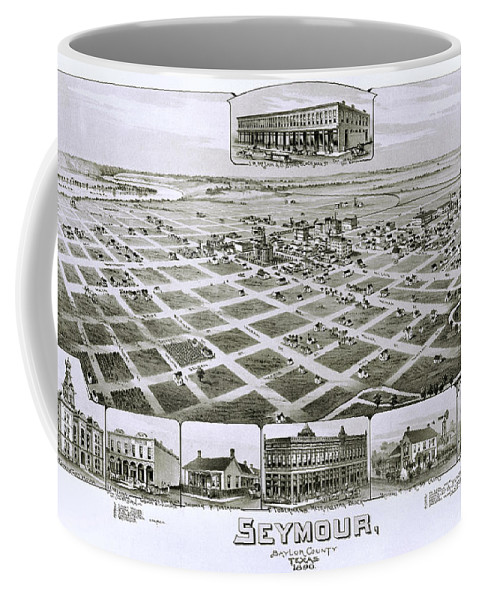 Map Coffee Mug featuring the photograph 1890 Vintage Map Of Seymour Texas by Stephen Stookey