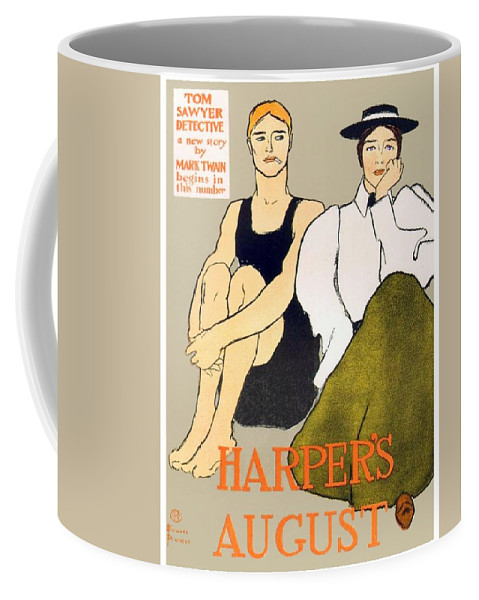 Poster Coffee Mug featuring the digital art 1897 - Harpers Magazine Poster - Color by John Madison