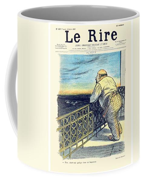Le Rire Coffee Mug featuring the digital art 1897 - Le Rire Journal Humoristique Paraissant Le Samedi Magazine Cover - July 31 - Color by John Madison