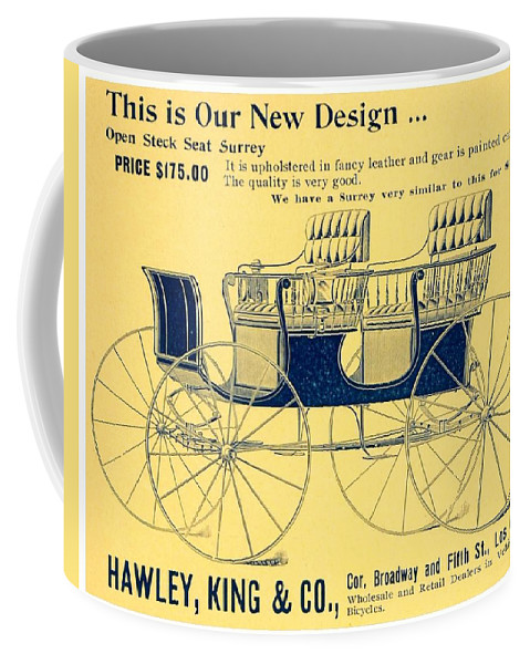 1898 Coffee Mug featuring the digital art 1898 - Hawley King And Company - Surrey Buggy Advertisement - Color by John Madison
