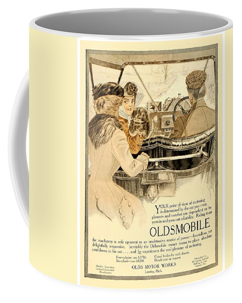 Cars Coffee Mug featuring the digital art 1909 - Oldsmobile Advertisement - Color by John Madison