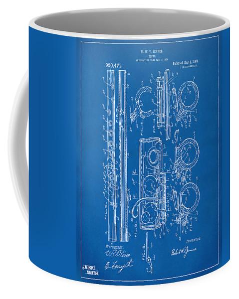 Flute Coffee Mug featuring the digital art 1909 Flute Patent - Blueprint by Nikki Marie Smith