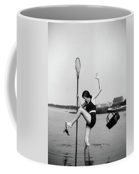 Photography Coffee Mug featuring the photograph 1920s Woman Crabbing Surprised By Crab by Vintage Images