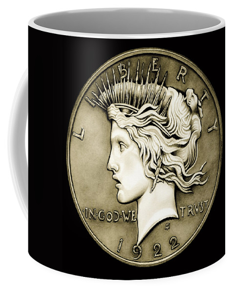 Coin Coffee Mug featuring the drawing 1922 Circulated Peace Dollar by Fred Larucci