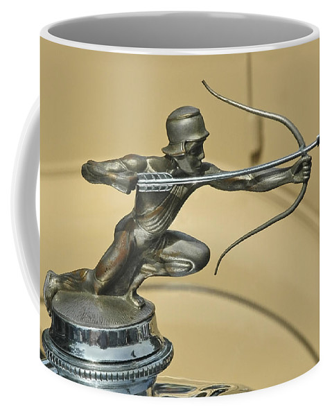 Antique Coffee Mug featuring the photograph 1928 Pierce Arrow Helmeted Archer Hood Ornament by Ginger Wakem