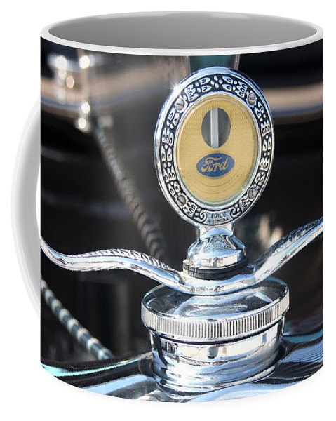 1930 Ford Model A Coffee Mug featuring the photograph 1930 Ford Model A - Hood Ornament - 7488 by Gary Gingrich Galleries