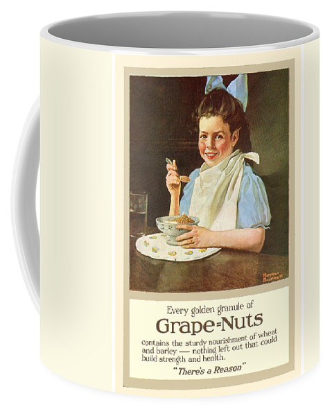 Norman Rockwell Coffee Mug featuring the digital art 1930 - Post Grape Nuts Cereal Advertisement - Norman Rockwell - Color by John Madison