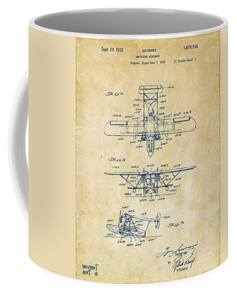 Airplane Coffee Mug featuring the digital art 1932 Amphibian Aircraft Patent Vintage by Nikki Marie Smith