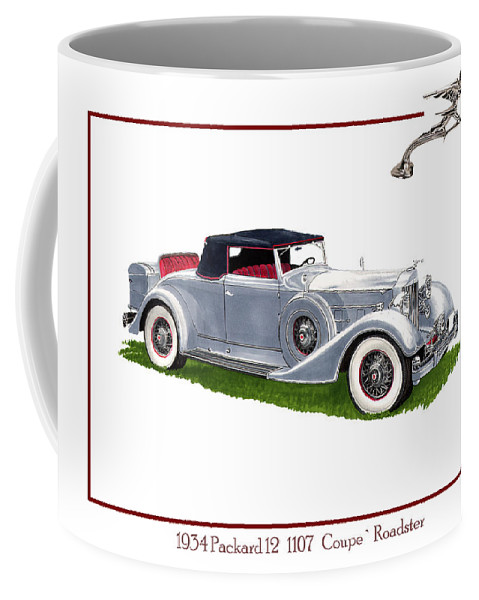 Watercolor Art Of A 1934 Packard V-12 1107 Coupe Roadster Coffee Mug featuring the painting 1934 Packard Twelve 1107 Coupe by Jack Pumphrey