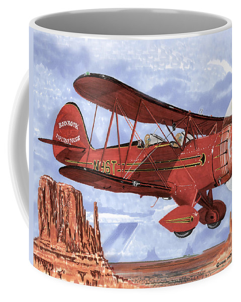 1935 Waco Bi-plane. Framed Prints Of Bi-wing Aircraft. Post Cards Of Old Airplanes. Framed Prints Of Utah Coffee Mug featuring the painting Monument Valley Bi-plane by Jack Pumphrey