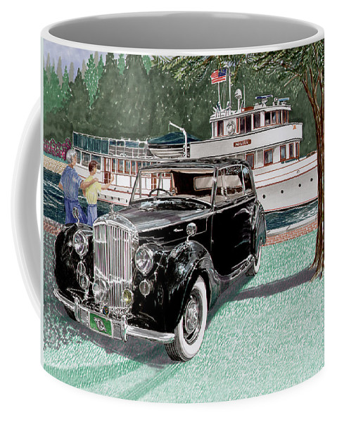 Classic 1936 Bentley British Car Art Coffee Mug featuring the painting Bentley Waving To Malibu by Jack Pumphrey