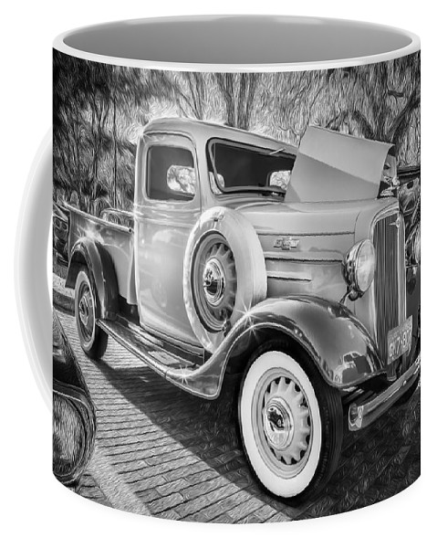 1936 Chevrolet Coffee Mug featuring the photograph 1936 Chevrolet Pick Up Truck Painted Bw  by Rich Franco