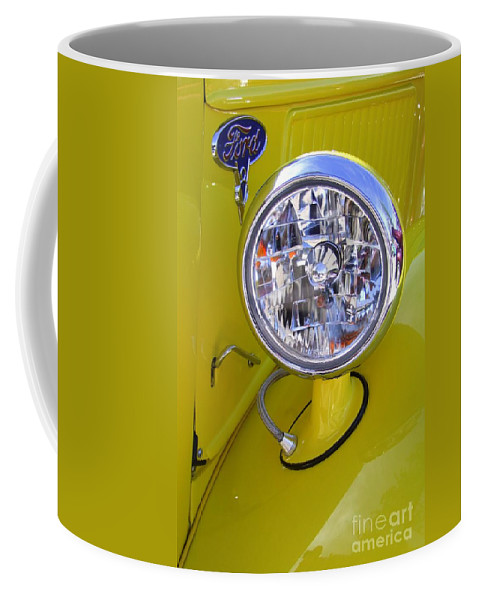 Ford Coffee Mug featuring the photograph 1936 Ford Pickup Headlamp by Mary Deal