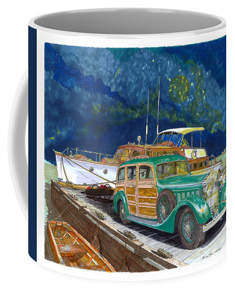 Classic Car Art Coffee Mug featuring the painting 1936 Hispano Suiza Shooting Brake by Jack Pumphrey