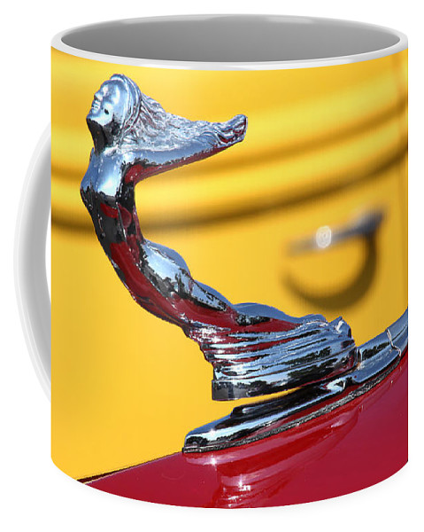 1937 Coffee Mug featuring the photograph 1937 Desoto Hood Ornament-7277 by Gary Gingrich Galleries