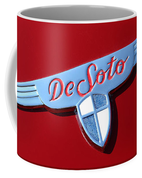 1937 Coffee Mug featuring the photograph 1937 Desoto Logo-7238 by Gary Gingrich Galleries