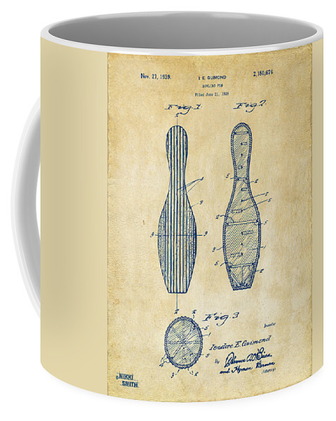 Bowling Coffee Mug featuring the digital art 1939 Bowling Pin Patent Artwork - Vintage by Nikki Marie Smith