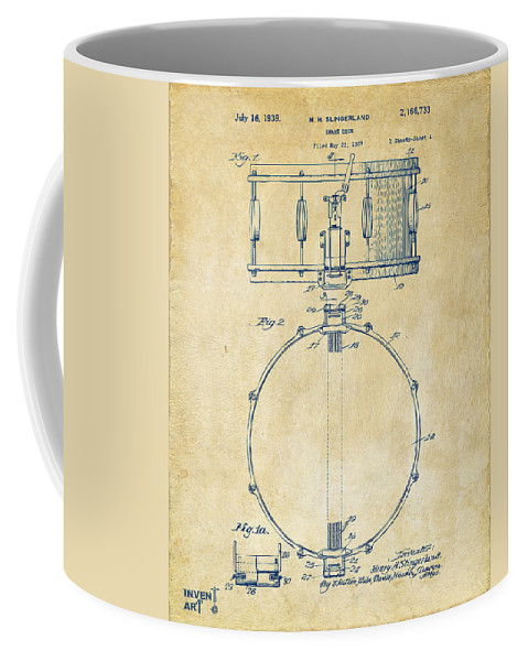 Drum Coffee Mug featuring the digital art 1939 Snare Drum Patent Vintage by Nikki Marie Smith