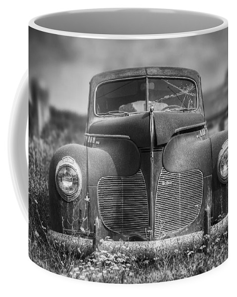 Desoto Coffee Mug featuring the photograph 1940 Desoto Deluxe Black And White by Scott Norris