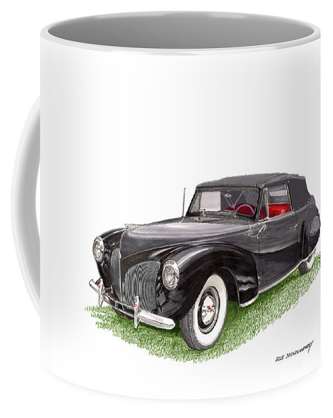 A Gift Of Art Will Never Be Returned Because It Does Not Fit Coffee Mug featuring the painting Lincoln Zephyr Cabriolet by Jack Pumphrey