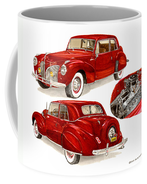 A Jack Pumphrey Watercolor Painting Of A 1941 Lincoln Continental Coffee Mug featuring the painting 1941 V 12 Lincoln Continental by Jack Pumphrey