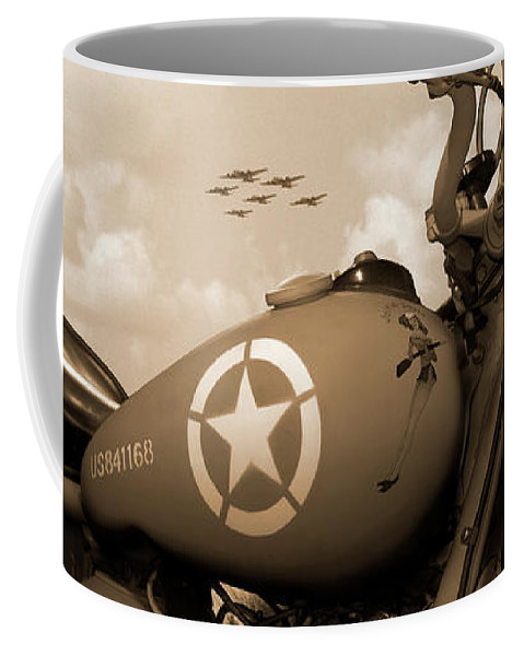 Warbirds Coffee Mug featuring the photograph 1942 Indian 841 - B-17 Flying Fortress' by Mike McGlothlen