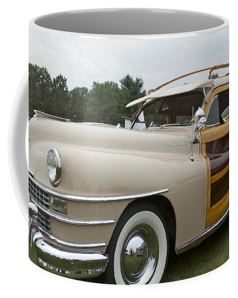 Antique Coffee Mug featuring the pyrography 1947 Chrysler by Jack R Perry