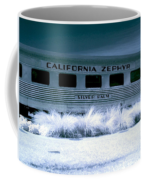1948 Coffee Mug featuring the photograph 1948 California Zephyr Silver Palm Near Infrared Blue by Sally Rockefeller