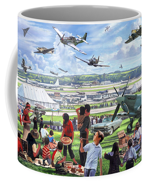 Flying Coffee Mug featuring the digital art 1950 Airshow by MGL Meiklejohn Graphics Licensing