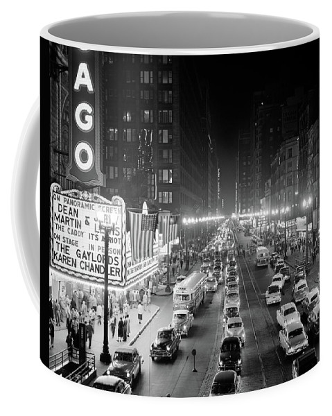Photography Coffee Mug featuring the photograph 1950s 1953 Night Scene Of Chicago State by Vintage Images