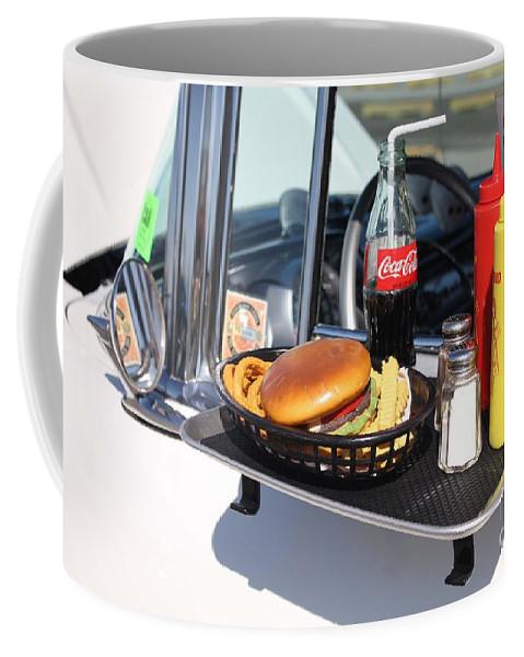 1950s Drive In Movie Snack Tray Coffee Mug featuring the photograph 1950's Drive In Movie Snack Tray by John Telfer