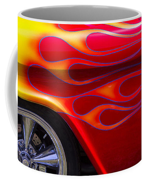 1955 Chevy Coffee Mug featuring the photograph 1955 Chevy Pickup With Flames by Garry Gay