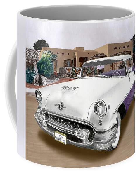 A Watercolor Portrait Of A 1955 Oldsmobile In Front Of Home Of The Owner Coffee Mug featuring the painting 1955 Oldsmobile Super 88 by Jack Pumphrey