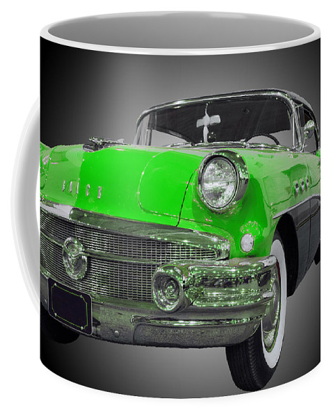 1957 Buick Special Riviera Coupe Coffee Mug featuring the photograph 1956 Buick Special Riviera Coupe-green by Michael Porchik