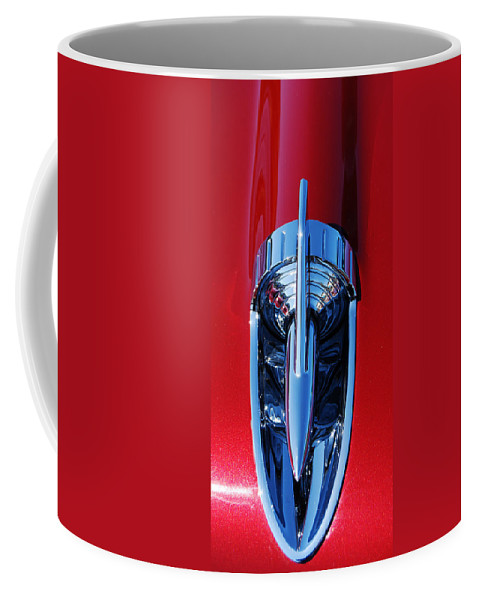 1957 Chevy Hood Rocket Coffee Mug featuring the photograph 1957 Chevy Belair Hood Rocket by Jani Freimann