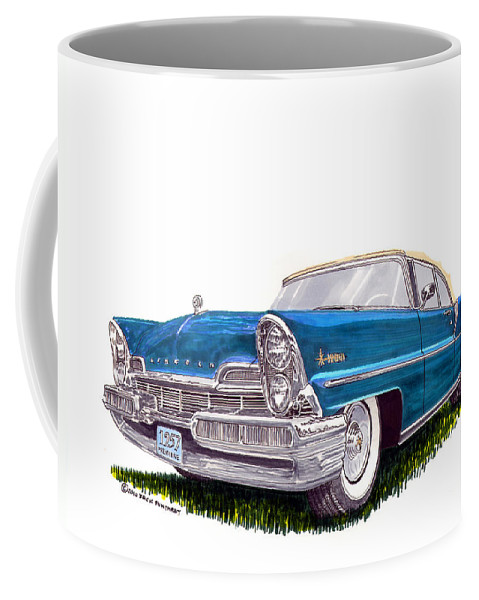 Classic Car Art Coffee Mug featuring the painting 1957 Lincoln Premiere Convert by Jack Pumphrey
