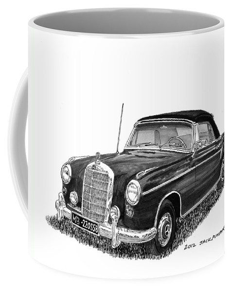 Mercedes Benz 220s Coffee Mug featuring the painting 1958 Mercedes Benz 220s by Jack Pumphrey