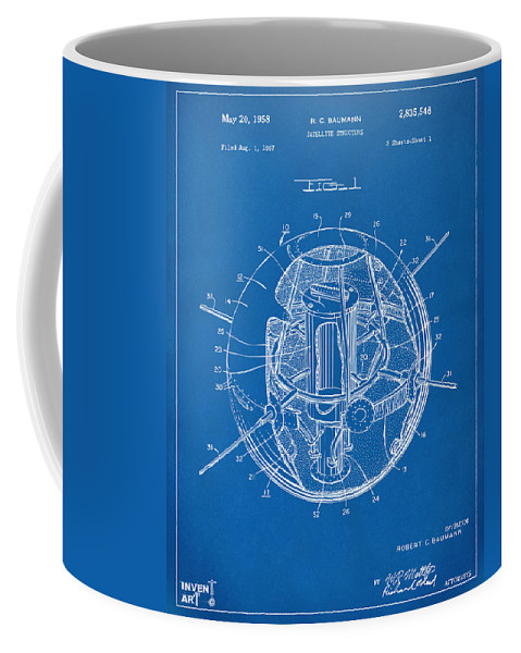 Satellite Coffee Mug featuring the digital art 1958 Space Satellite Structure Patent Blueprint by Nikki Marie Smith