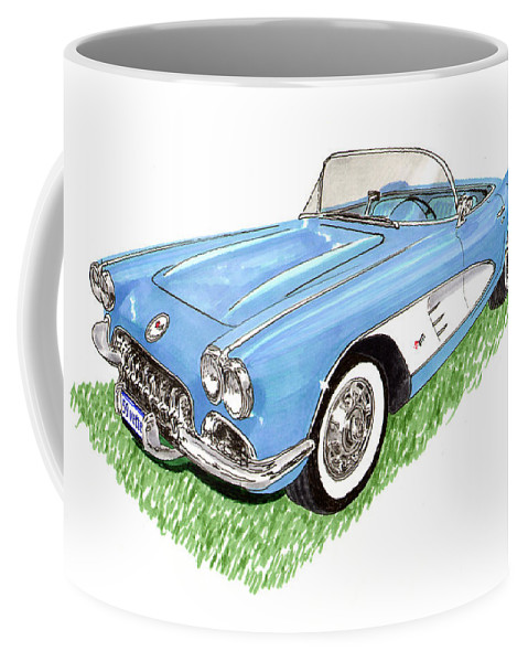 Framed Art Prints Of 1959 Corvette Frost Blue With White Coves Detailed & Ready Coffee Mug featuring the painting 1959 Corvette Frost Blue by Jack Pumphrey