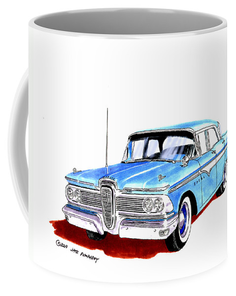 The 1959 Edsel Ranger Was An Automobile Produced By The Former Mercury-edsel-lincoln Division Of The Ford Motor Company Of Dearborn Coffee Mug featuring the painting 1959 Ford Edsel Ranger 4-door Sedan by Jack Pumphrey