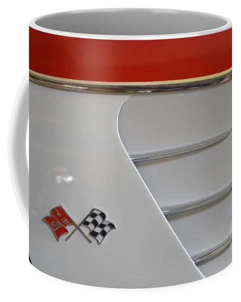 Corvette Coffee Mug featuring the photograph 1960 Corvette Emblem And Side Moulding by Mary Deal